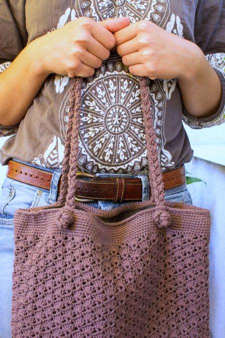 Gehäkelte Handtasche | Handarbeiten | Pinterest | Häkeln, Tasche ...