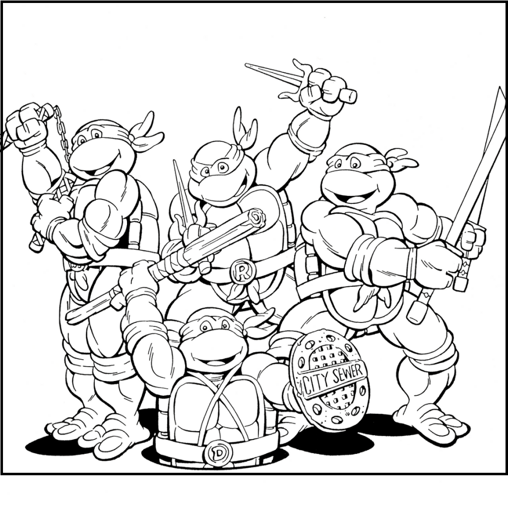 Funny Ninja Turtles Team Coloring Picture For Kids