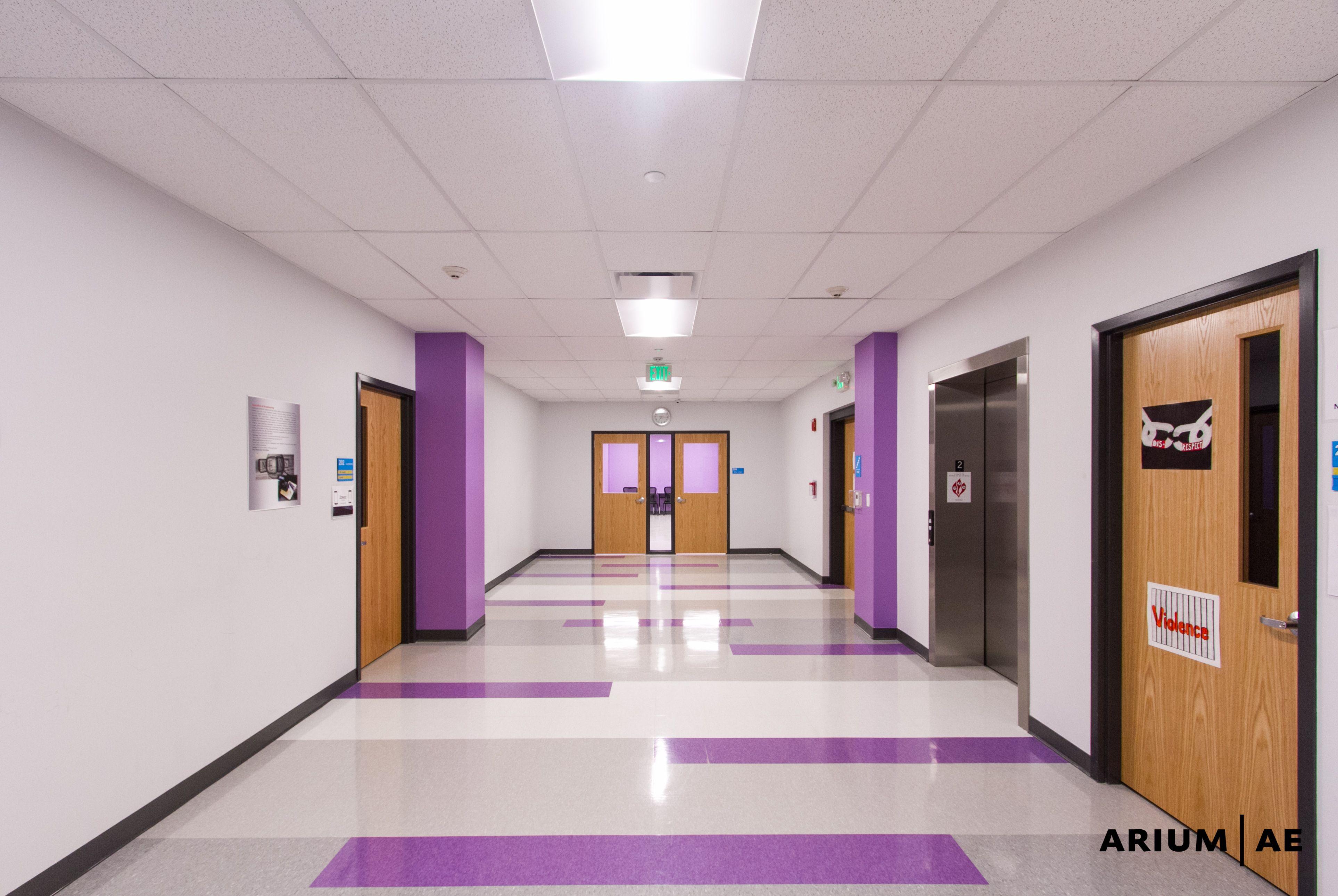 High School Hallway Accent Color Floor Accent Pattern