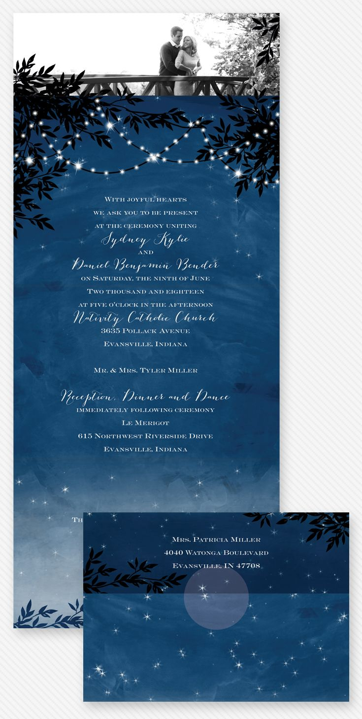 Starry Night Seal And Send Invitation Ann S Bridal Bargains Starry Night Wedding Wedding Invitations Romantic Wedding Invitations