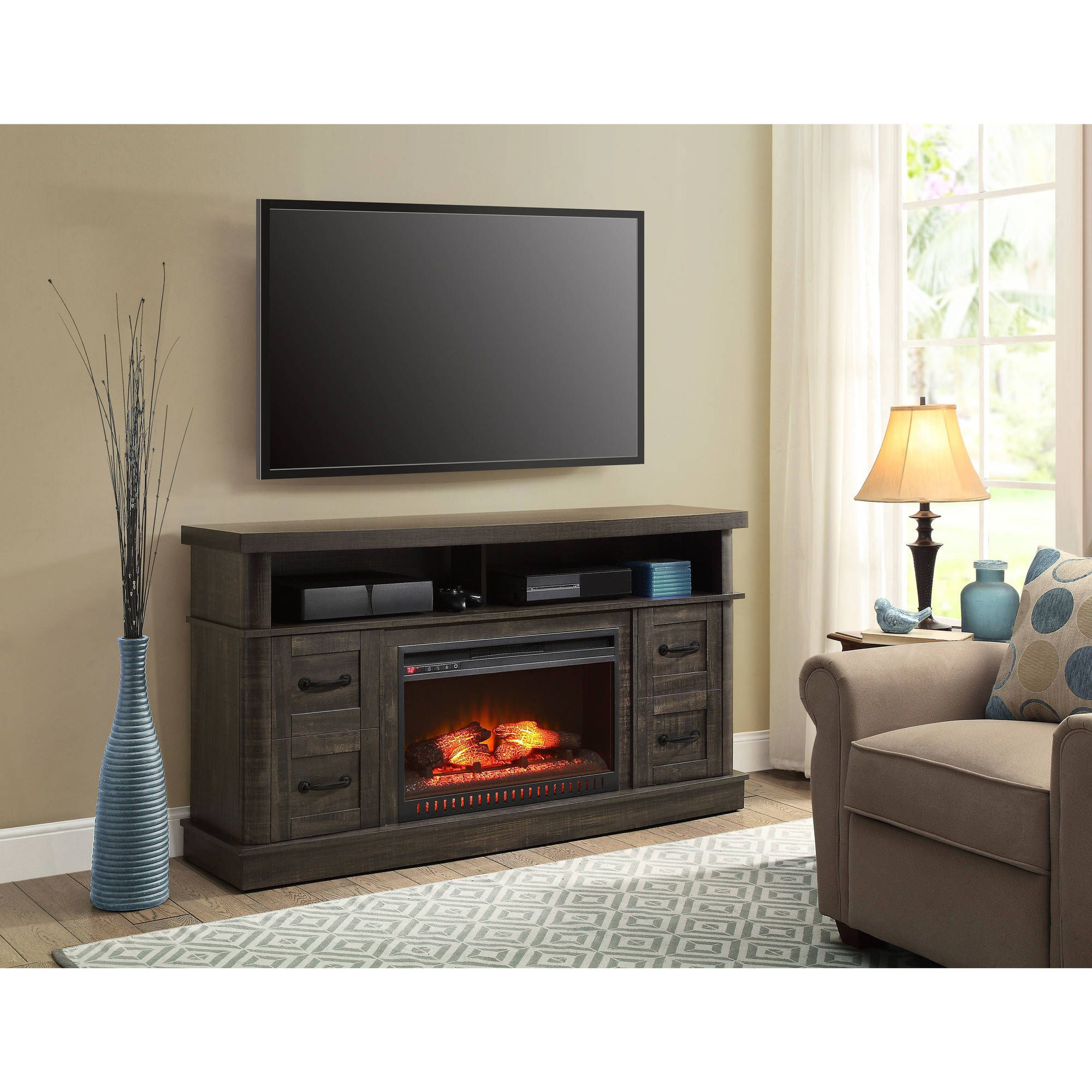 Whalen Weathered Dark Pine Media Fireplace Console for TV\u0027s up to ...