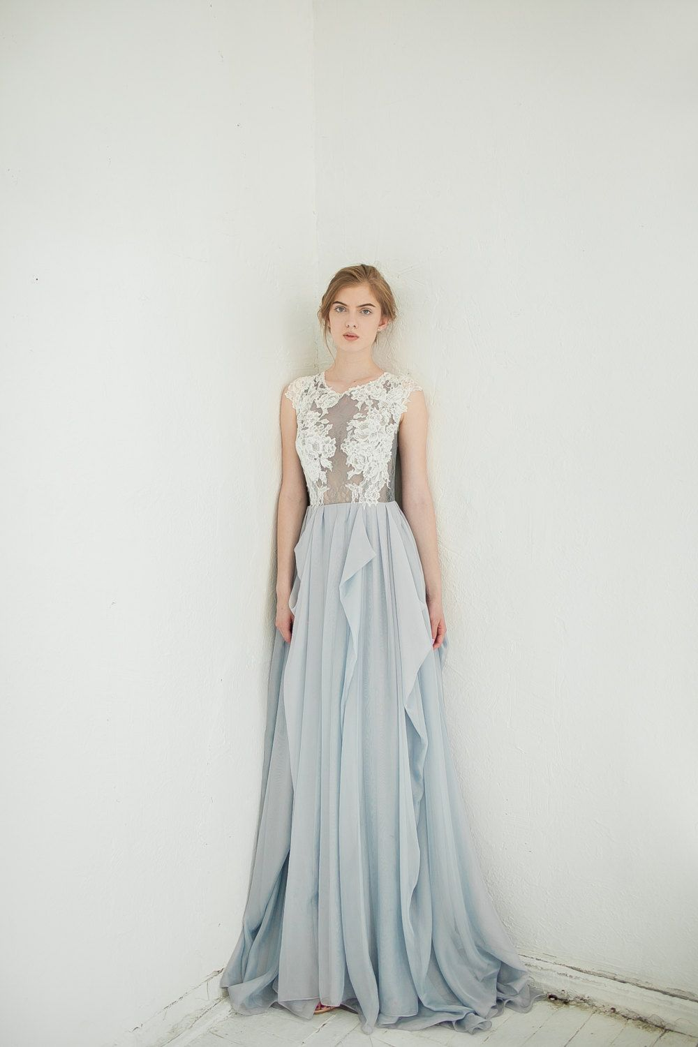 Gray wedding dress blue gray dress with ivory lace appliques lace
