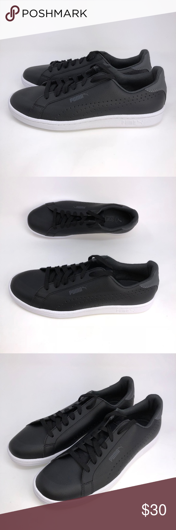 Puma Smash Perf C Men s Sneaker Black Puma Smash Perf C Men s Sneaker  Classic Tennis Shoes Black Size 9.5-10 Leather Upper Rubber Outsole  Softfoam Insole ... 225b1497d