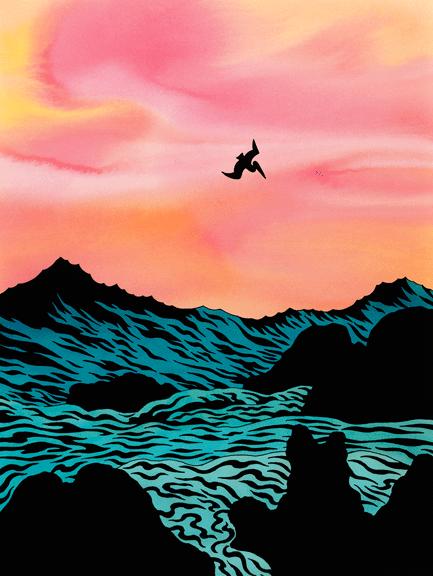 Pelican Diving into Ocean, Art by Ken Price