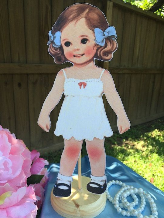 Vintage Paper Doll Centerpiece Baby Shower First Birthday