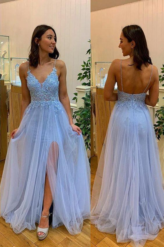Sexy Straps Light Blue A Line Prom Dress, Backless Appliques Prom Dresses, Long Evening Dress ML6126