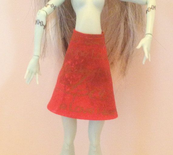 Monster High Clothes Handmade Red Skirt by All4U on Etsy, $3.00