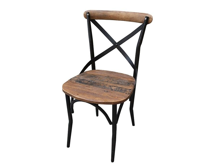 chaise en bois et en fer industrielle