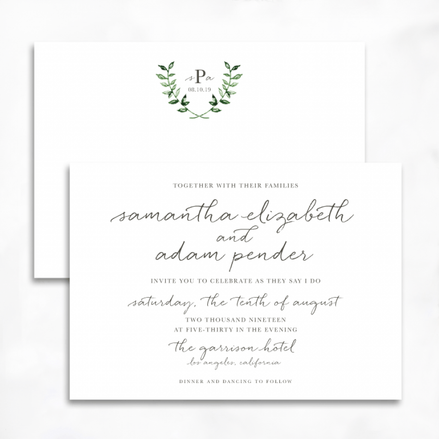 Calligraphy Laurel Wedding Invitations | Smitten on Paper | Caitlin ...