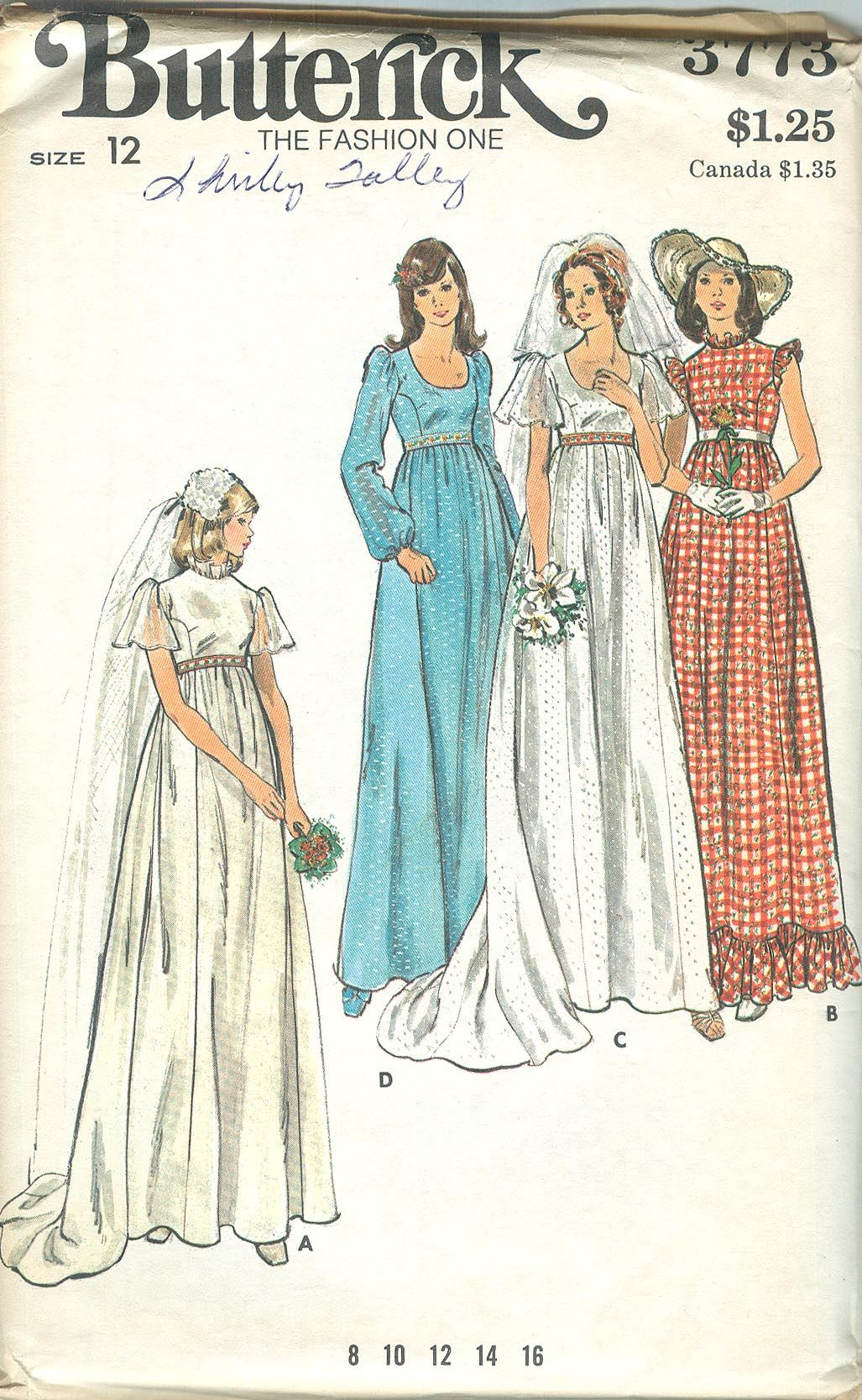 Butterick 3773 Vintage 1970s High waist Wedding Dress Pattern B34 ...