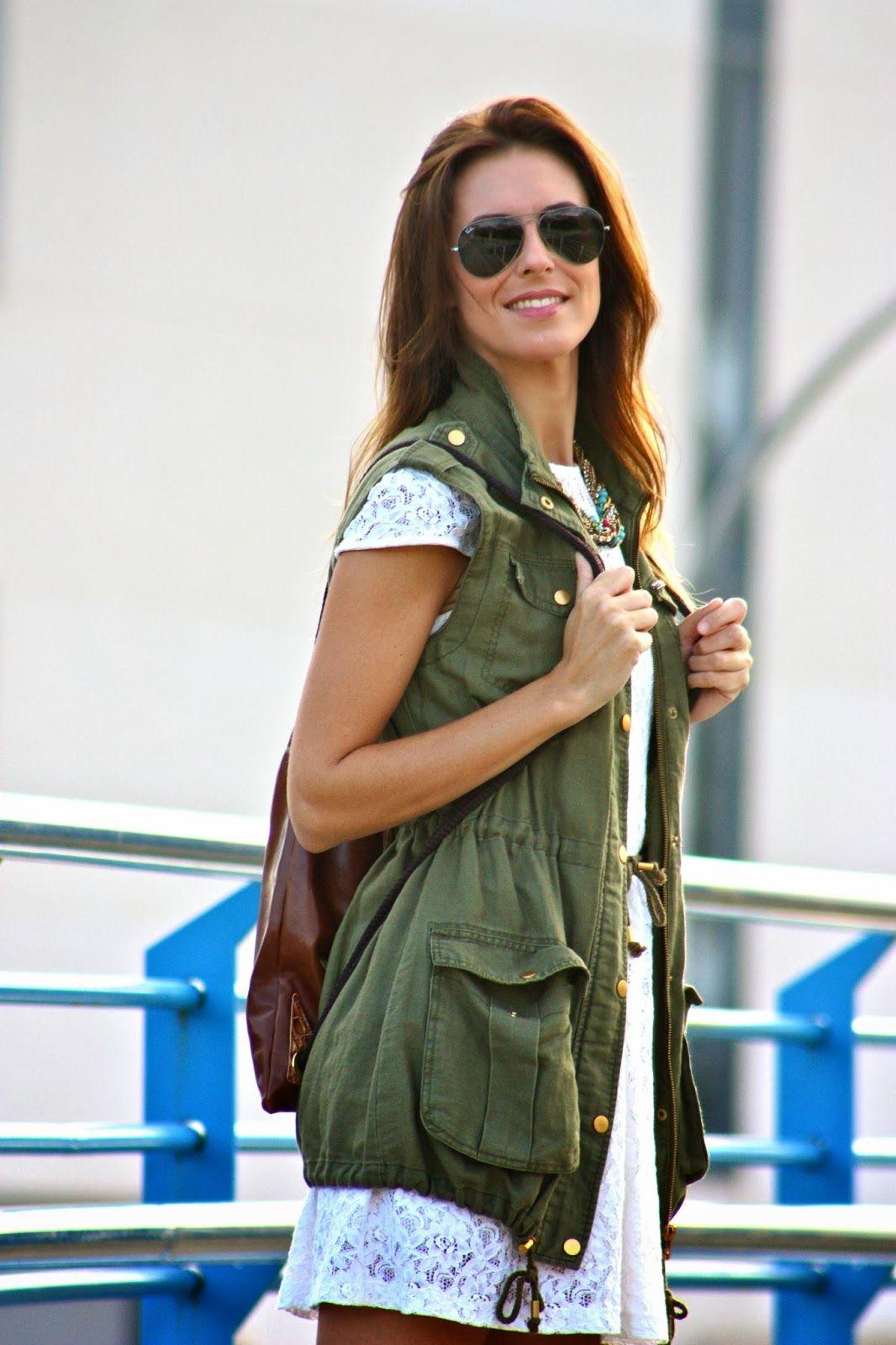 Vestido lencero verde militar