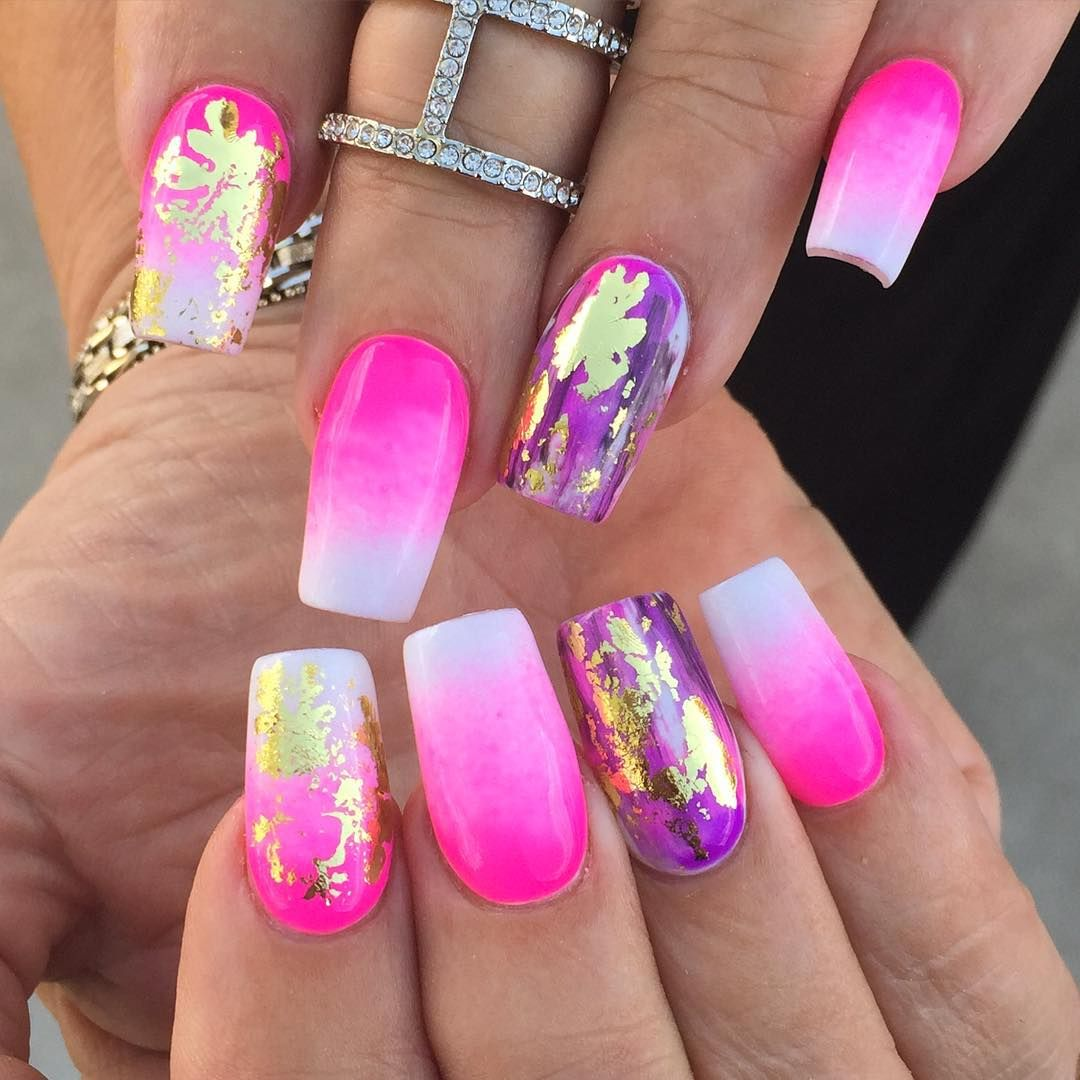 Hot Pink Ombre + Purple #nails - gold foil leaf accents ...