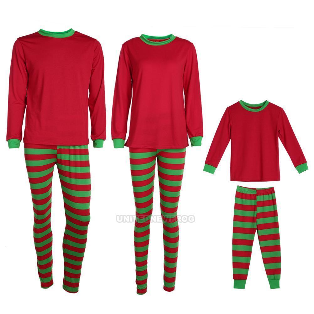 805311aa55  9.7 AUD - Christmas Striped Family Matching Pajamas Set Sleepwear  Nightwear Kids Pyjamas  ebay  Fashion