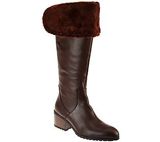 3c6a0d271 H by Halston Leather Over-the-knee Boots with Faux Fur - Donna