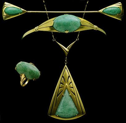 Modernist Parure  Gold & amazonite Marked: 'M bottle & D'  Signed: 'Payal' French. Circa 1915.