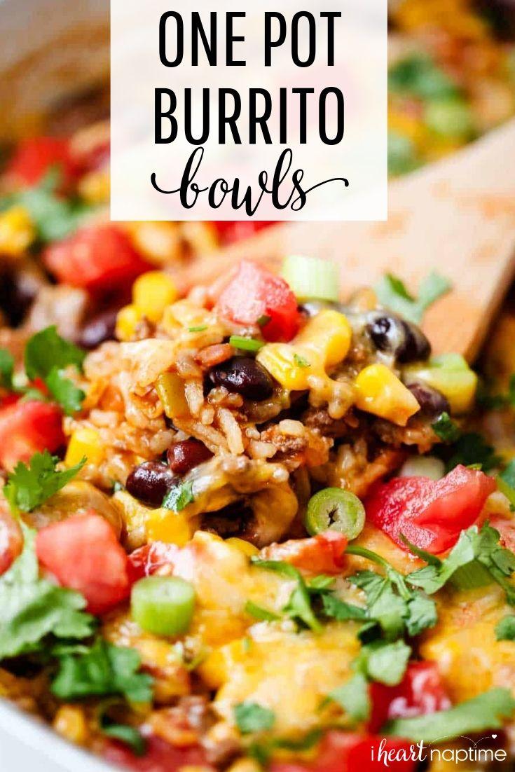 One Pot Burrito Bowls Recipe Food Recipes One Pot Meals Easy