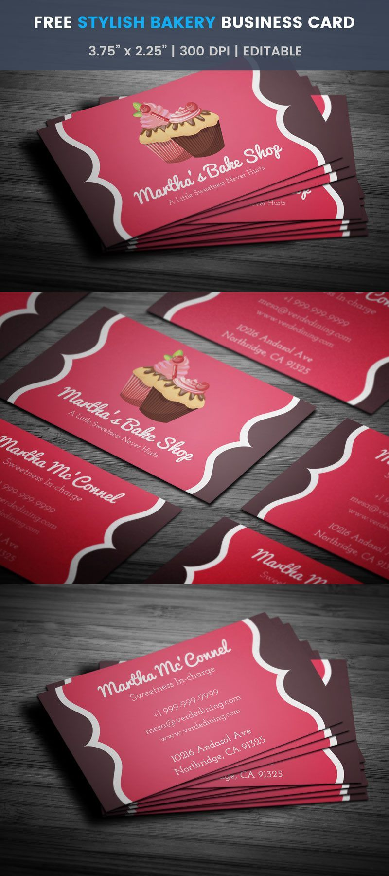 Catchy Stylish Bakery Business Card Template Full Preview