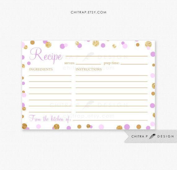 purple recipe cards printed or printable gold glitter confetti bridal shower kitchen tea lilac lavender instant download white 074