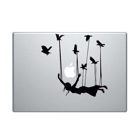 Girl Carried With Birds Vinyl Decal Sticker To Fit Macbook Pro - Custom vinyl decals for macbook pro