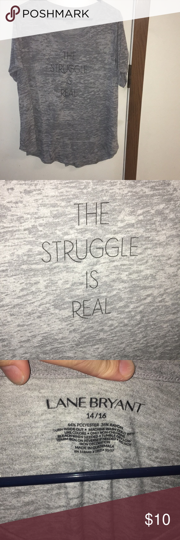 "6ac022e42 Lane Bryant T-Shirt Graphic burnout tee. ""The Struggle is Real"" Lane Bryant  Tops Tees - Short Sleeve"