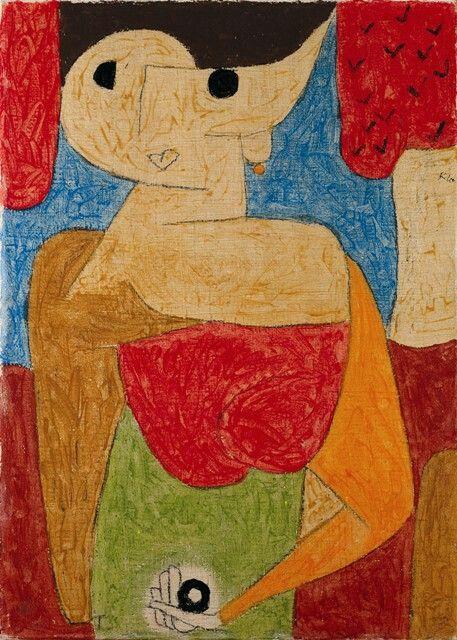 Paul Klee, omphalo-centrischer Vortrag, 1939,690 (KK 10), Kreide und Kleisterfarbe auf Seide auf Jute auf Keilrahmen, 70 x 50,5 cm, Kunstsammlung Nordrhein-Westfalen, Düsseldorf