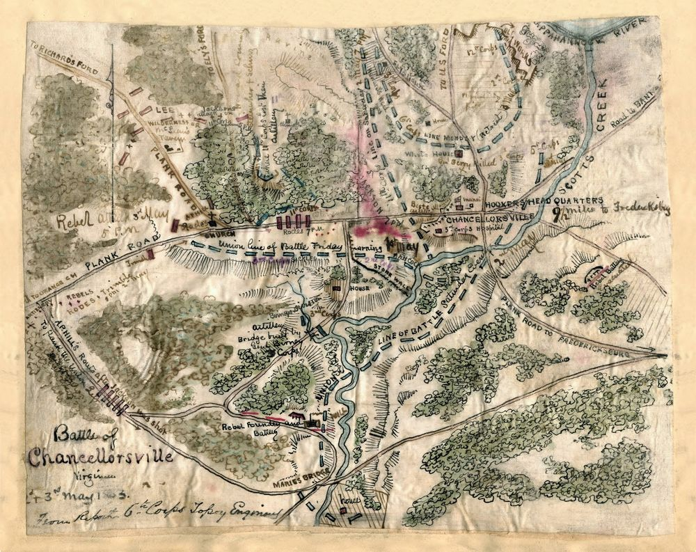 1863 MAP Civil War antique Battle of Chancellorsville Virginia