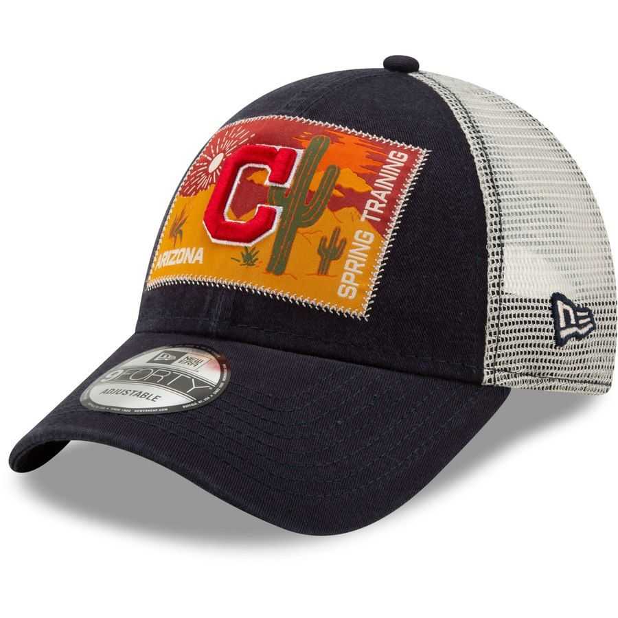 30f11686d3b Men s Cleveland Indians New Era Navy Patched Trucker 3 9FORTY Adjustable  Snapback Hat