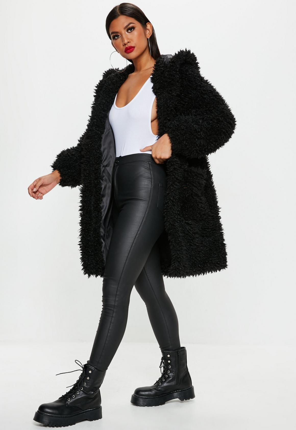 24a8cfadfcf0b Missguided - Black Hooded Borg Longline Teddy Coat - All black outfit -  winter coat - jacket - missguided - black boots - black tights - womens  fashion ...