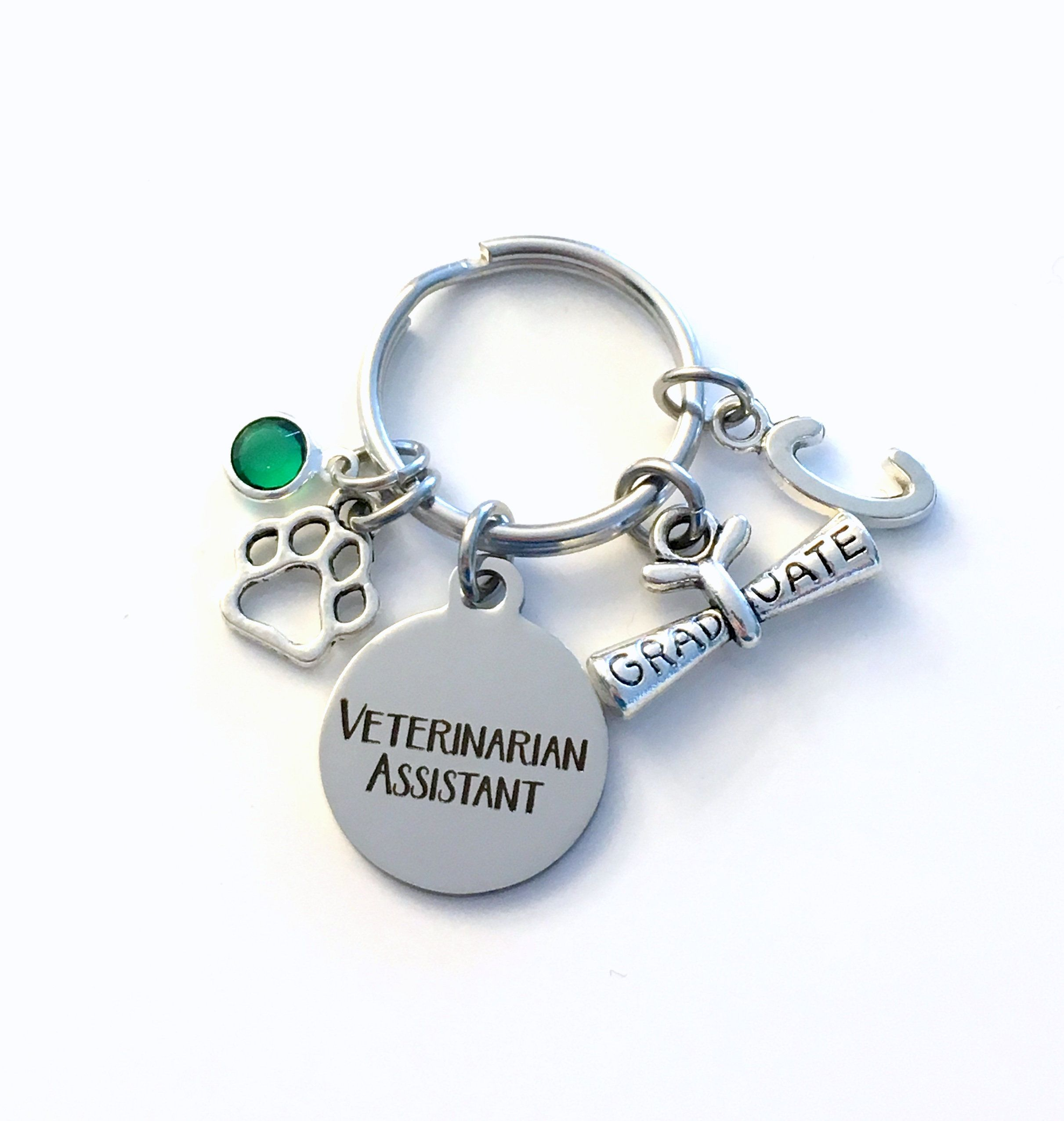 Graduation gift for veterinarian assistant keychain vet