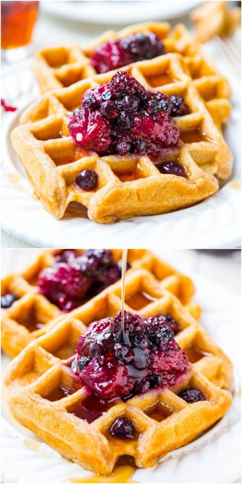 Easy Buttermilk Waffles Recipe Mixed Berry Preserves Averie Cooks Recipe Buttermilk Waffles Waffle Recipes Food