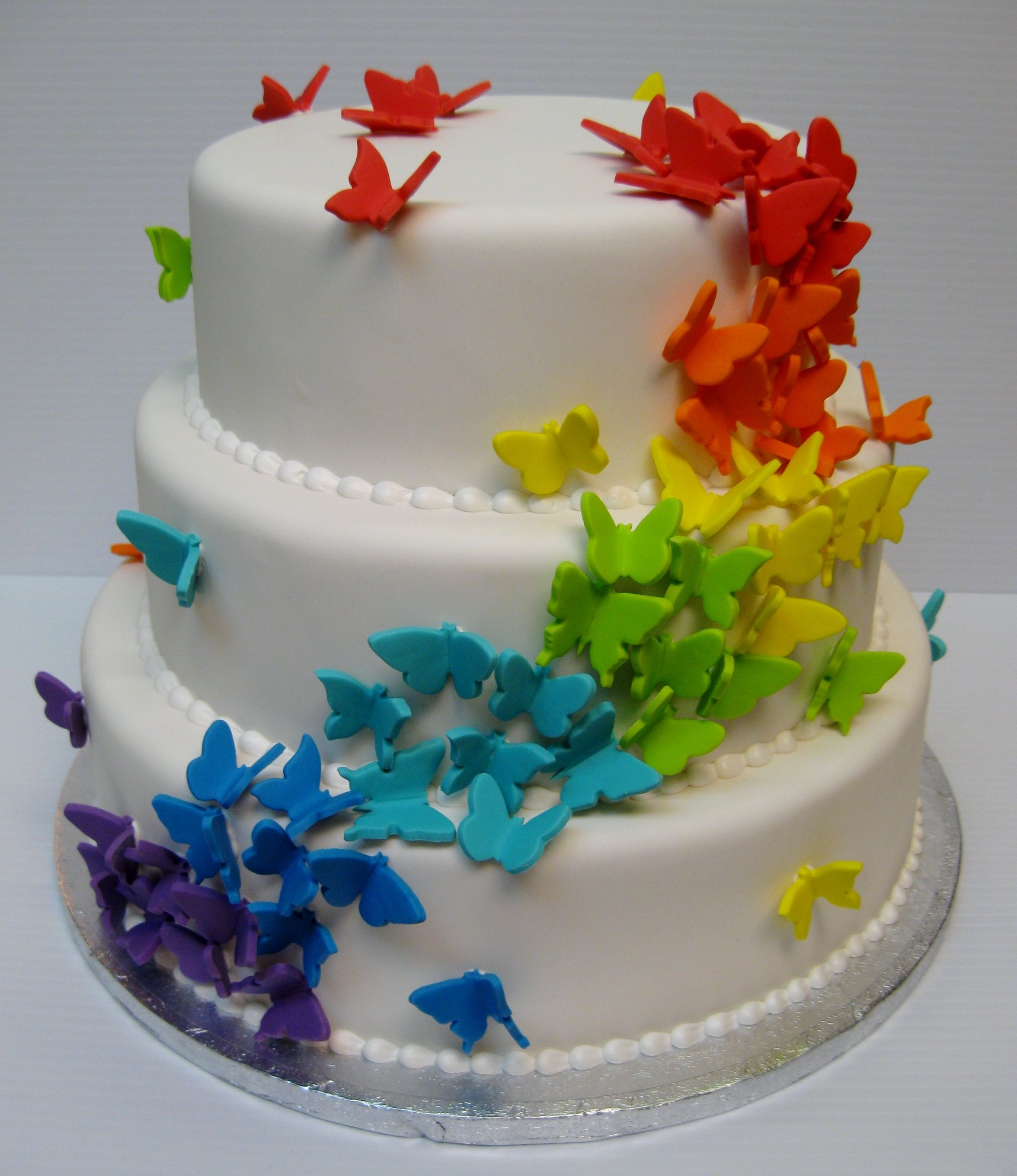 rainbow butterfly wedding cake cascading rainbow butterfly cake princess wedding 18957