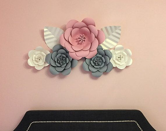 3D Wall Flowers -  Large Paper Flower Set of 5 - Custom Colors Available