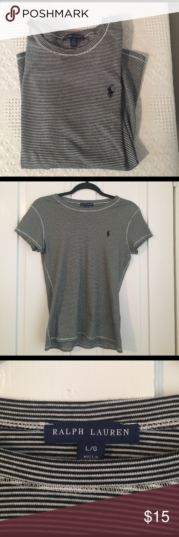 Ralph Lauren Striped Top Black and white striped top from Ralph Lauren. This is short sleeved and great condition. It is also not cropped. Size large. Ralph Lauren Tops Tees - Short Sleeve