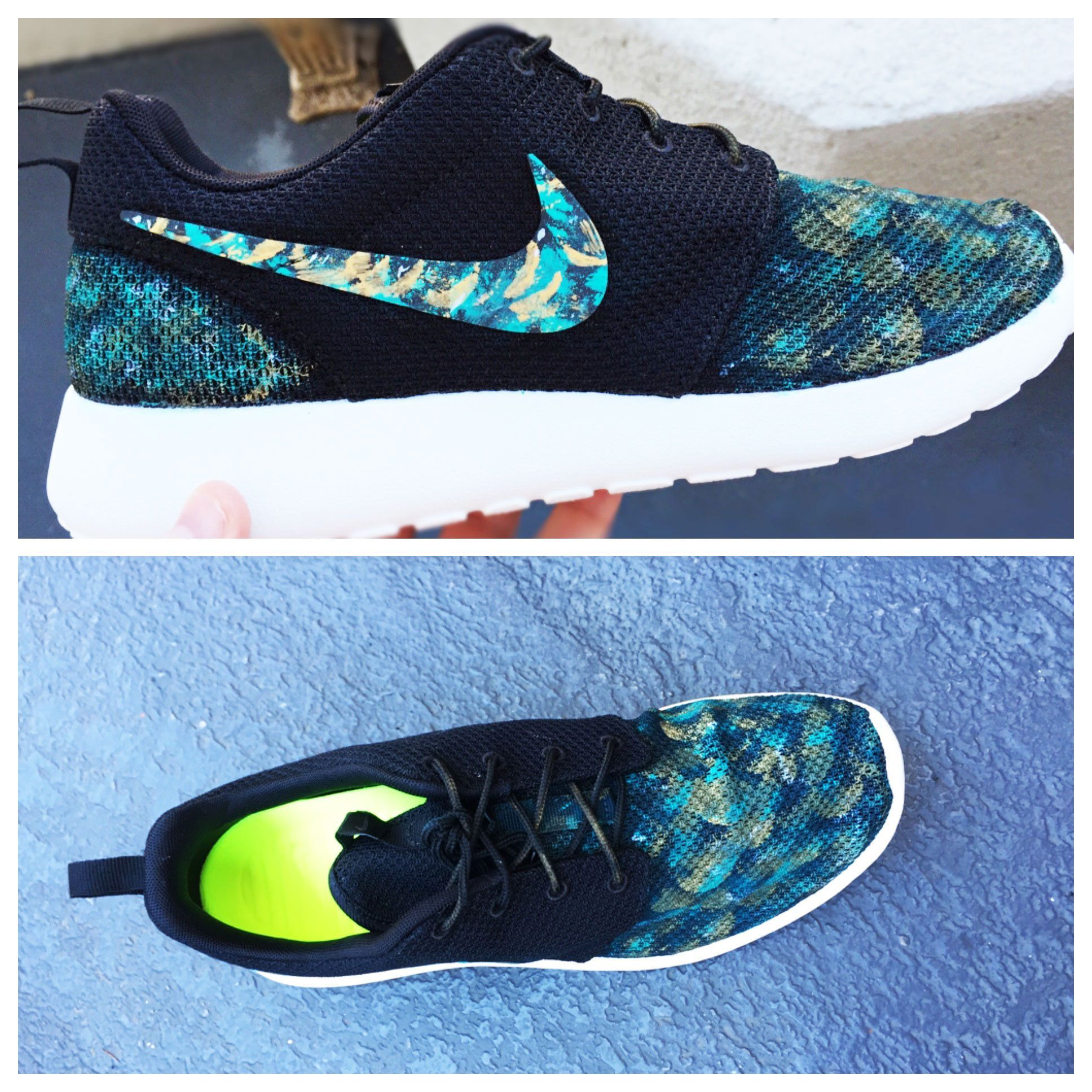 newest fb9bc 9376a Mens custom nike roshe shoes, treasure hunt,  marine treasure hunt  teal  and gold design, hand painted, mens custom roshe run