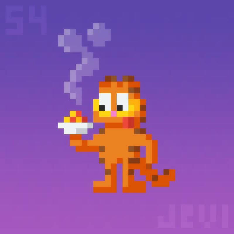 Daily Pixel Art 054 Garfield By Jevi93 Pixel Art Garfield Art