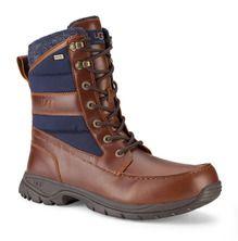 Ugg Wynton In Chestnut Leather Navy Canvas Combat Boots Chestnut Leather Boots