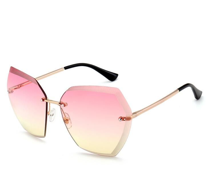 730a01d828 women oversized sunglasses vintage rimless sunglasses women gradient pink  blue yellow designer fashion ladies sun glasses
