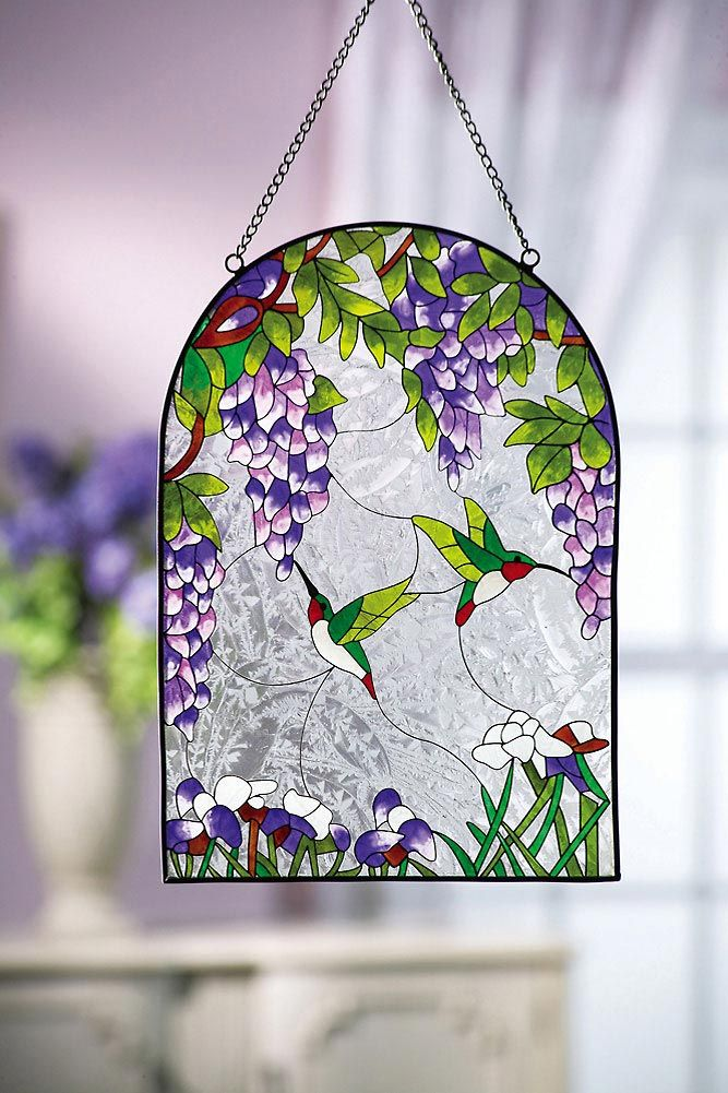 Wisteria Flowers & Hummingbirds Glass Suncatcher from Collections Etc.