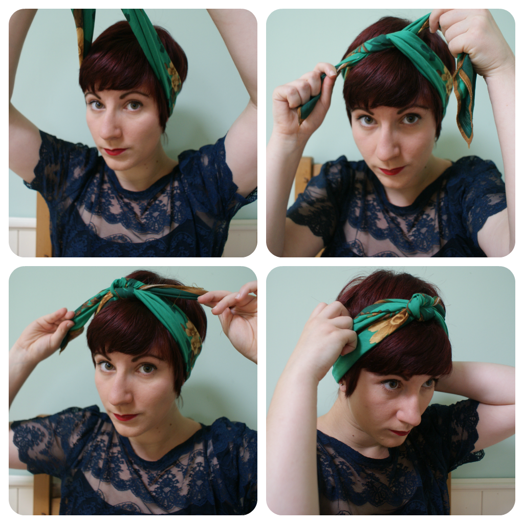 How to tie a retro-style headscarf  Scarf hairstyles, Headbands