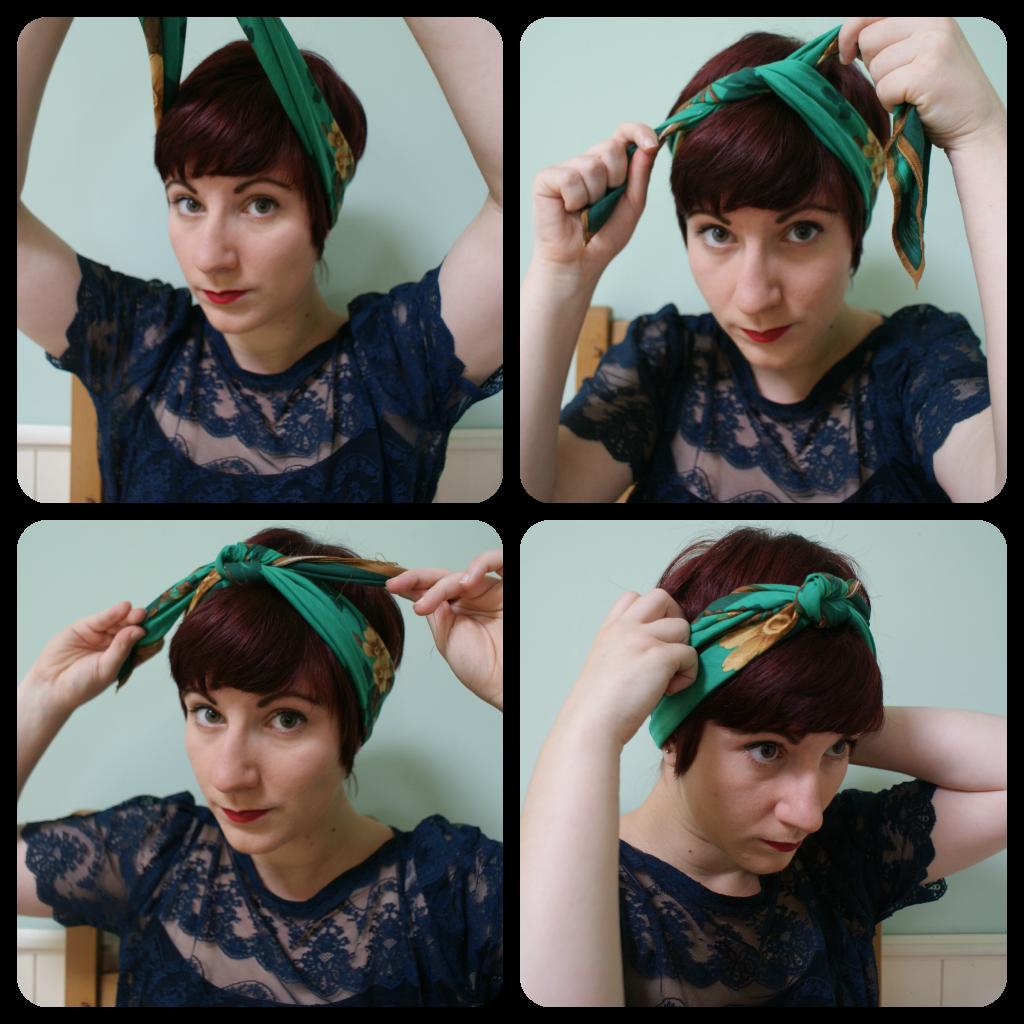 How To Tie A Retro Style Headscarf Headbands For Short Hair Scarf Hairstyles Short Hair Styles