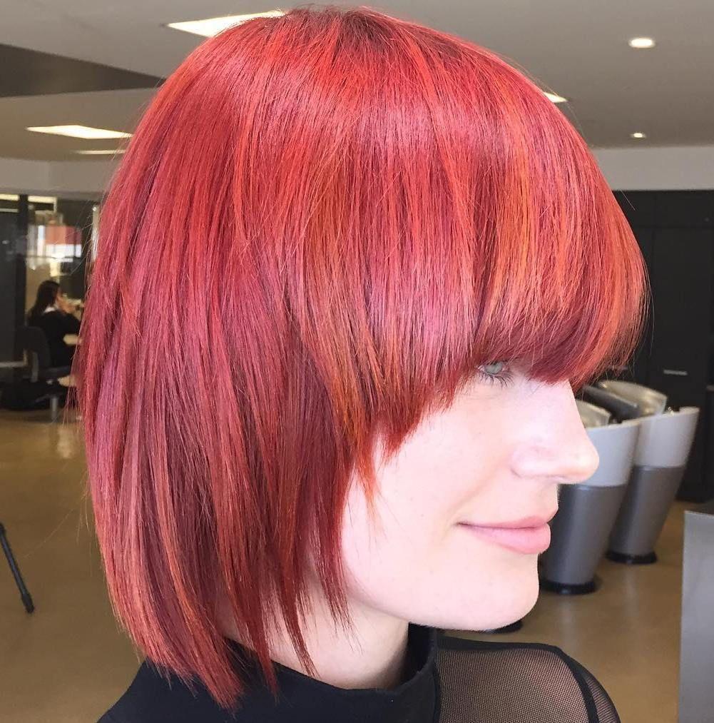 classy short bob haircuts and hairstyles with bangs magenta