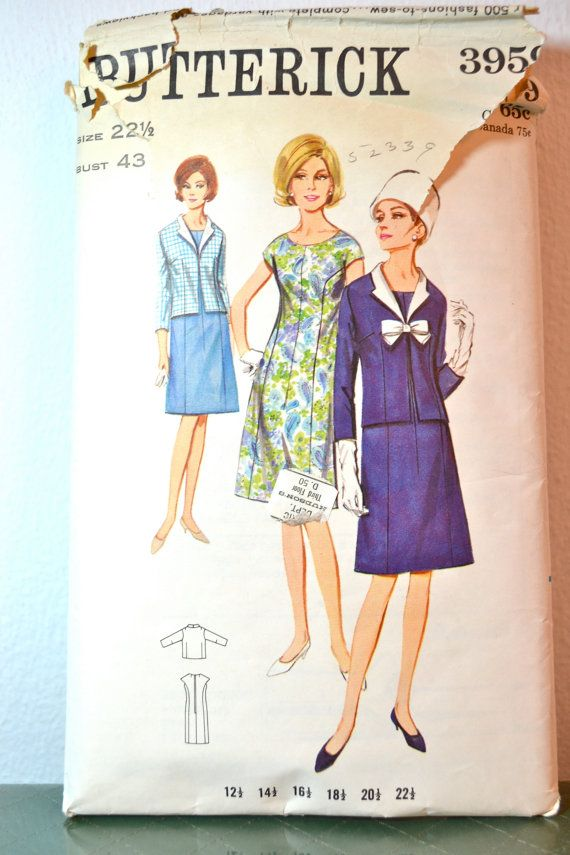 1960s Vintage Plus Size Butterick Pattern 3959 Womens Dress And