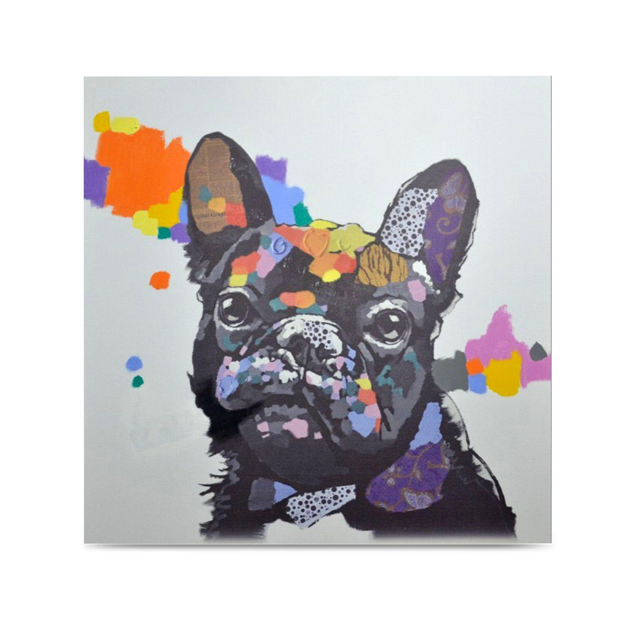 toile peinte la main 100x100cm multicolore dog toiles d coratives affiches et d co. Black Bedroom Furniture Sets. Home Design Ideas