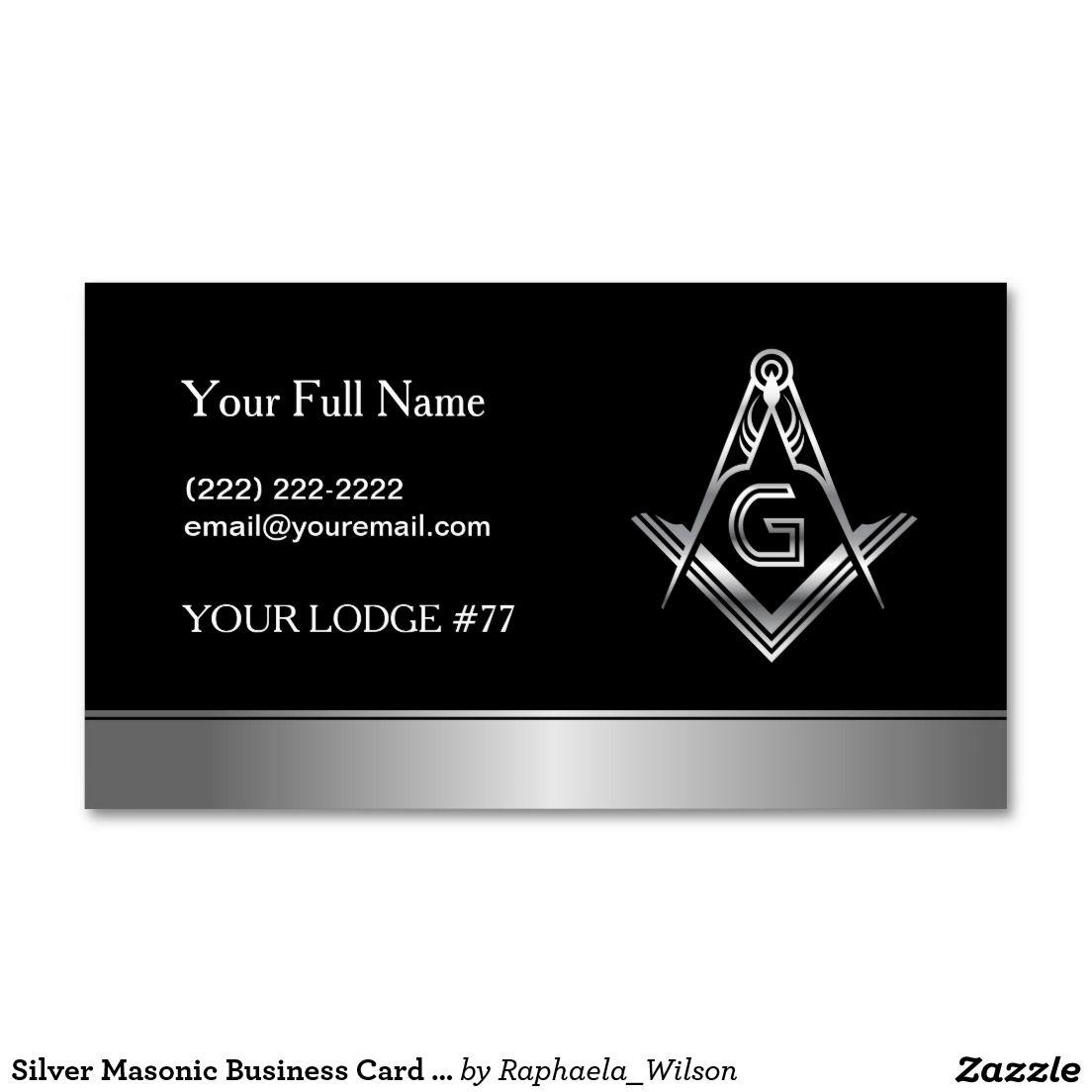 Silver masonic business card template freemason custom for Freemason business cards