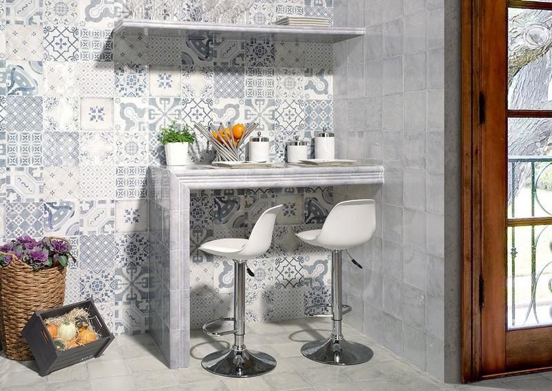 crédence cuisine en carreaux de ciment patchwork gris, Milano par ...