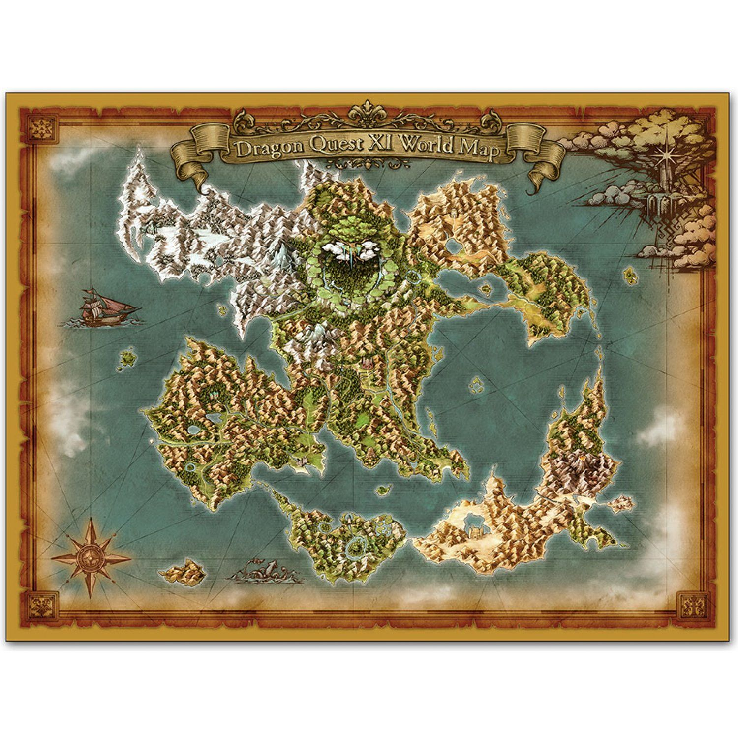 Dragon Quest Xi World Map END OF) SUMMER SALE 2020 | Dragon quest, Vintage world maps, World map