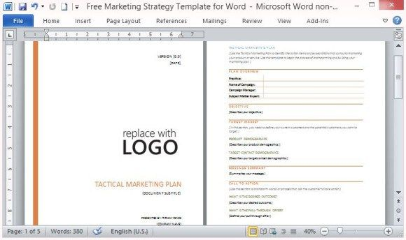 Free Marketing Strategy Template for Word #go #to #market - marketing strategy template