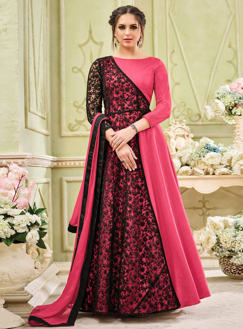 789fc5a2ac64 Buy Pink Georgette Abaya Style Anarkali Suit 120843 online at lowest price  from vast collection at m.indianclothstore.c.