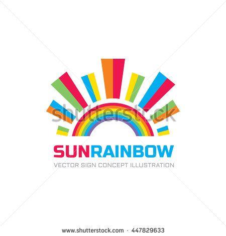 Sun rainbow - logo template vector illustration for kids - rainbow template