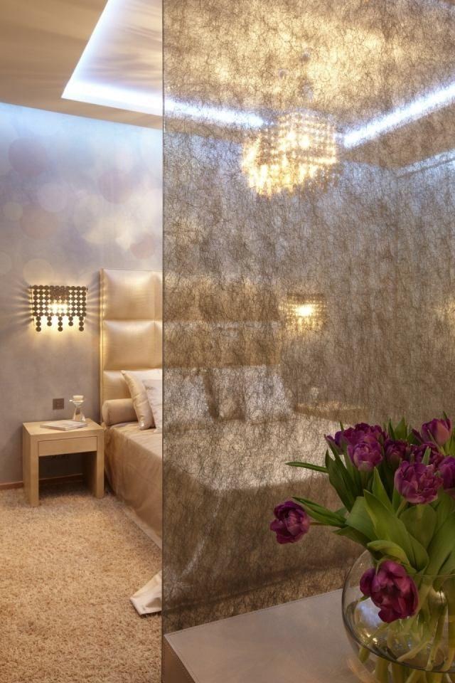 Raumteiler-Schlafzimmer-Beige-Deko-Paneele-Halb-Sichtbar-Led
